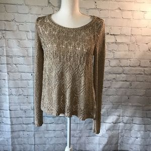 Maurices gold sequin see through shear sweater